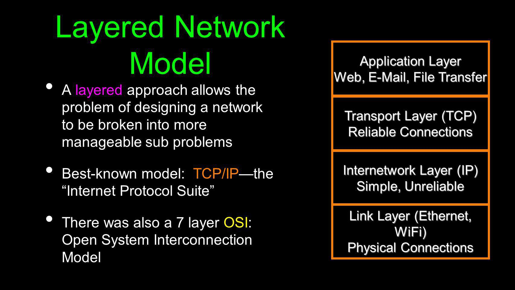 Layered Network Model A layered approach allows the problem of designing a network to be broken into more manageable sub problems Best-known model: TC