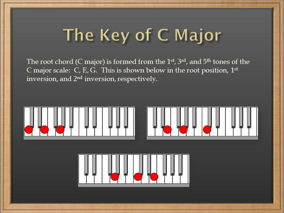 The root chord (C major) is formed from the 1 st, 3 rd, and 5 th tones of the C major scale: C, E, G.