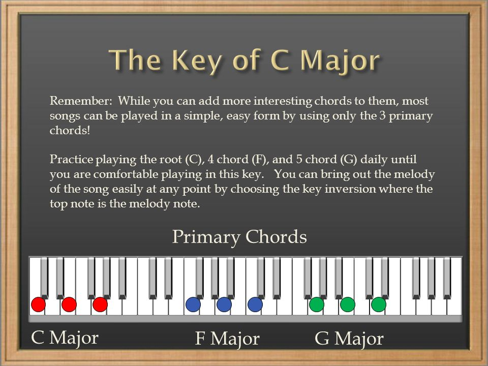 Remember: While you can add more interesting chords to them, most songs can be played in a simple, easy form by using only the 3 primary chords.