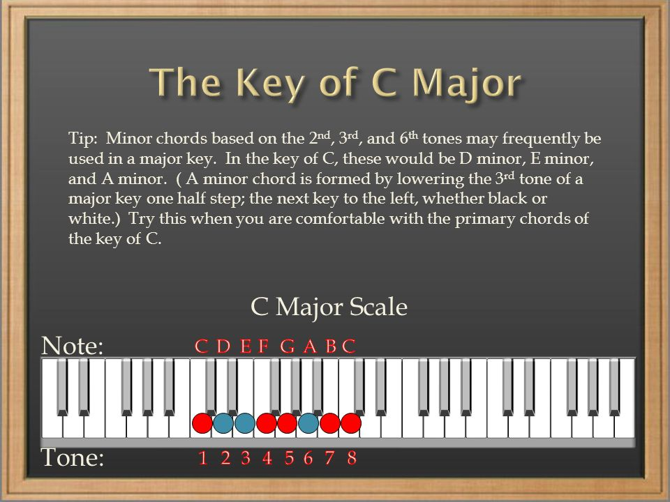 C Major Scale Note: Tone: Tip: Minor chords based on the 2 nd, 3 rd, and 6 th tones may frequently be used in a major key. In the key of C, these woul