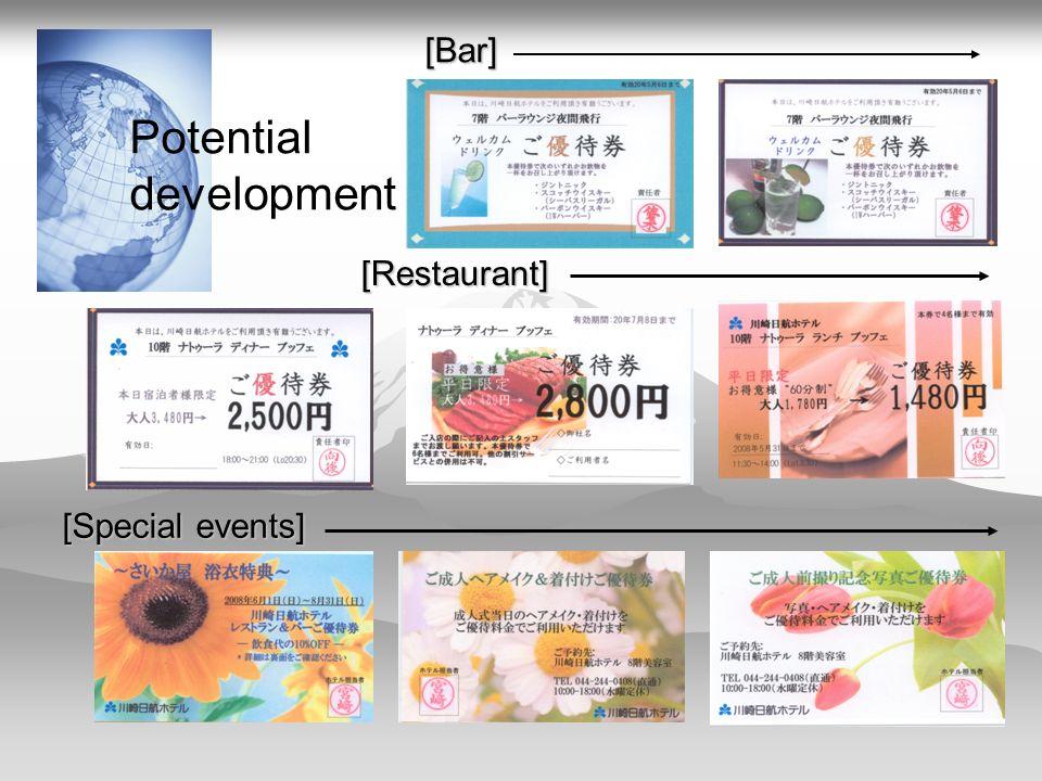[Bar] [Restaurant] [Special events] Potential development
