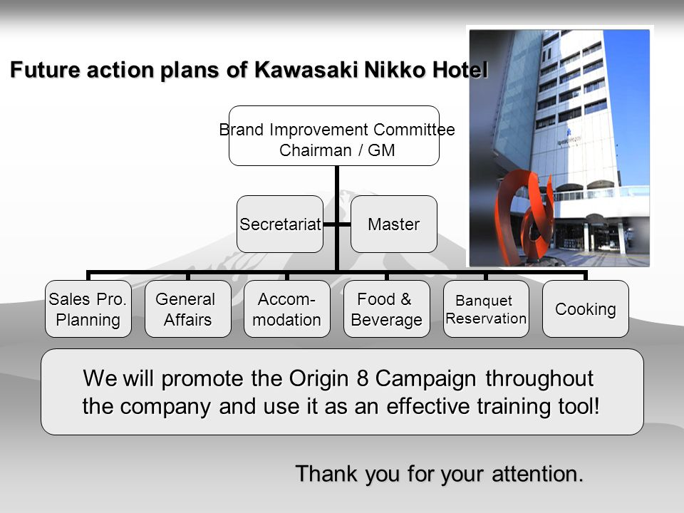 Future action plans of Kawasaki Nikko Hotel Brand Improvement Committee Chairman / GM Sales Pro.
