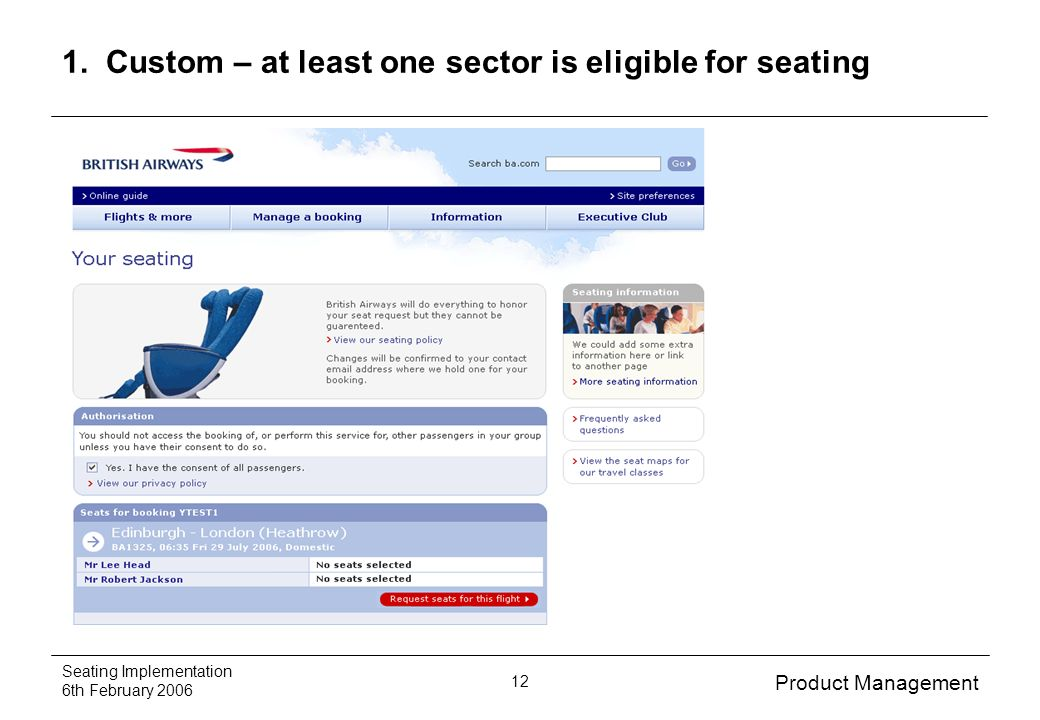 Product Management Seating Implementation 6th February