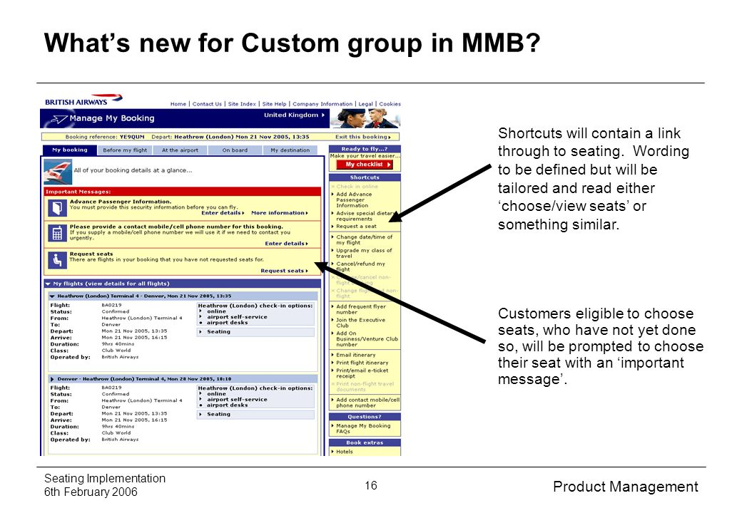 Product Management Seating Implementation 6th February Whats new for Custom group in MMB.