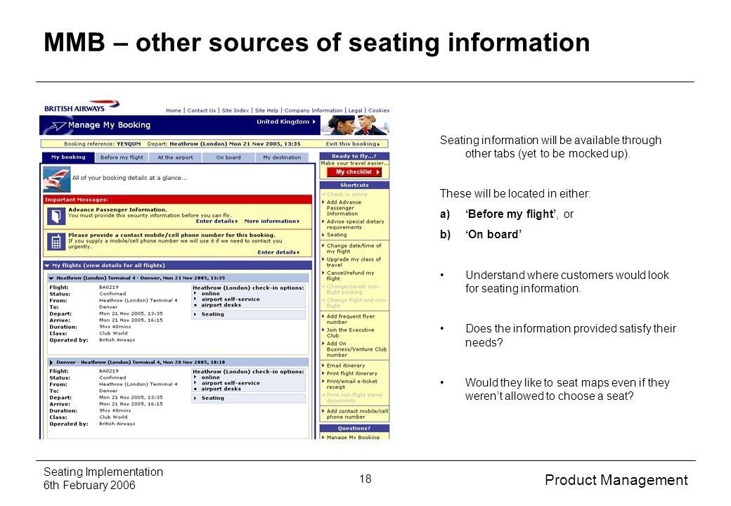 Product Management Seating Implementation 6th February MMB – other sources of seating information Seating information will be available through other tabs (yet to be mocked up).