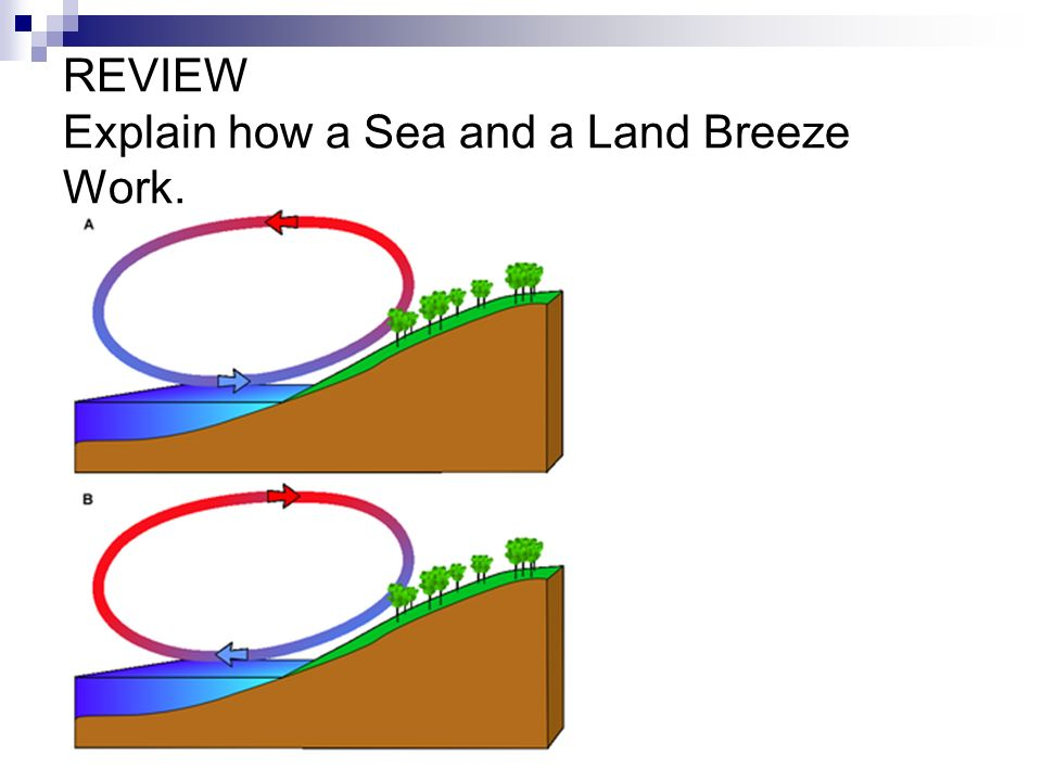 REVIEW Explain how a Sea and a Land Breeze Work.