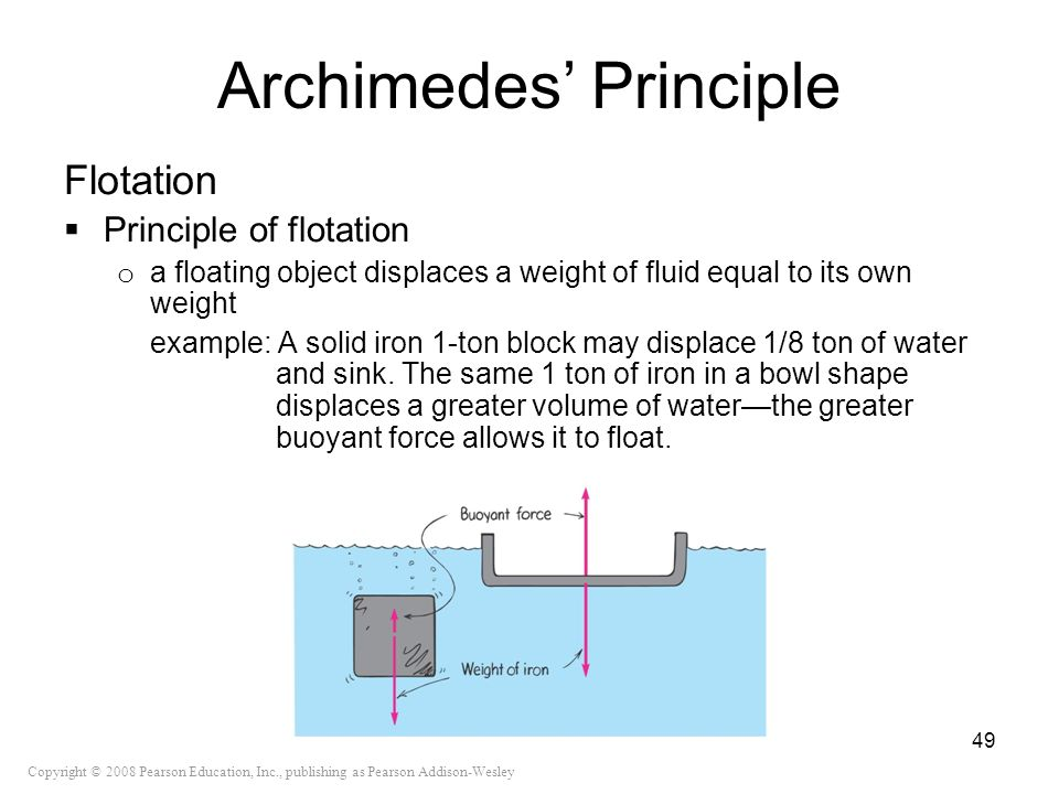 Copyright © 2008 Pearson Education, Inc., publishing as Pearson Addison-Wesley Archimedes Principle Flotation Principle of flotation o a floating obje