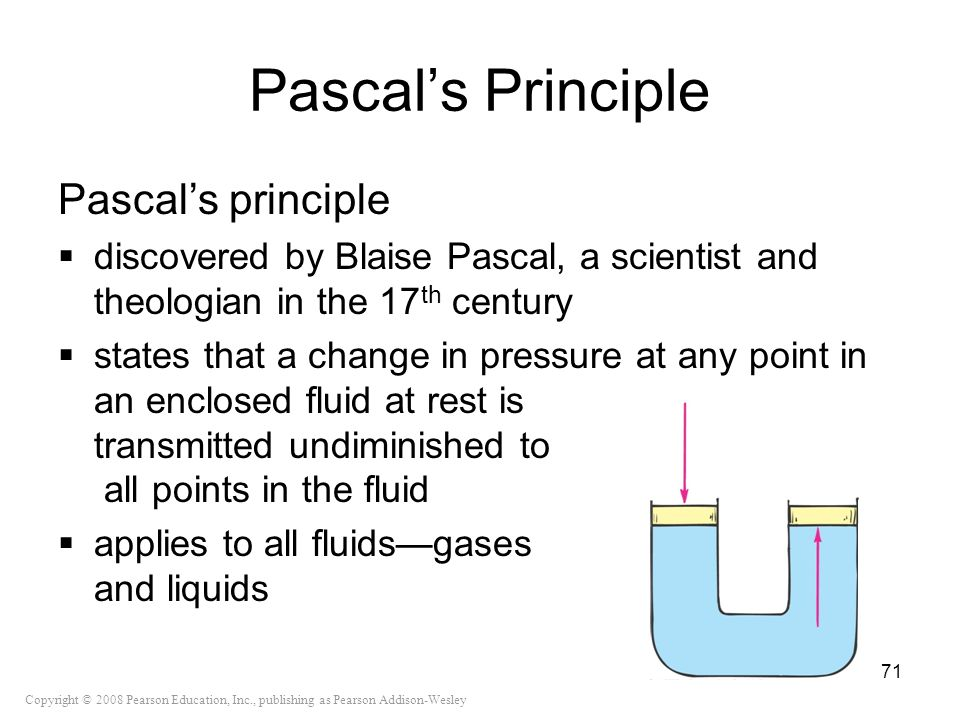 Copyright © 2008 Pearson Education, Inc., publishing as Pearson Addison-Wesley Pascals Principle Pascals principle discovered by Blaise Pascal, a scie