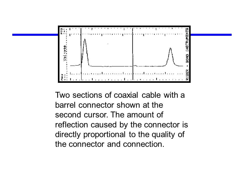 Two sections of coaxial cable with a barrel connector shown at the second cursor. The amount of reflection caused by the connector is directly proport
