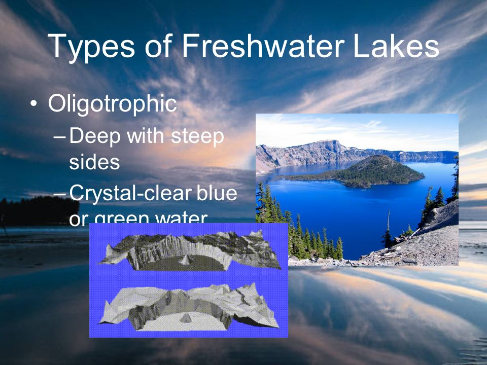 Types of Freshwater Lakes Oligotrophic –Deep with steep sides –Crystal-clear blue or green water