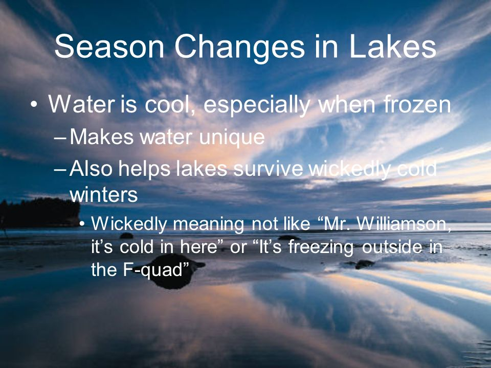 Season Changes in Lakes Water is cool, especially when frozen –Makes water unique –Also helps lakes survive wickedly cold winters Wickedly meaning not