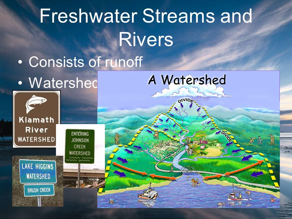 Freshwater Streams and Rivers Consists of runoff Watershed