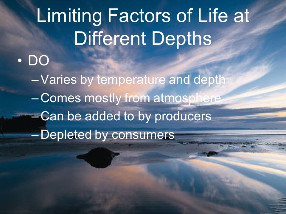 Limiting Factors of Life at Different Depths DO –Varies by temperature and depth –Comes mostly from atmosphere –Can be added to by producers –Depleted