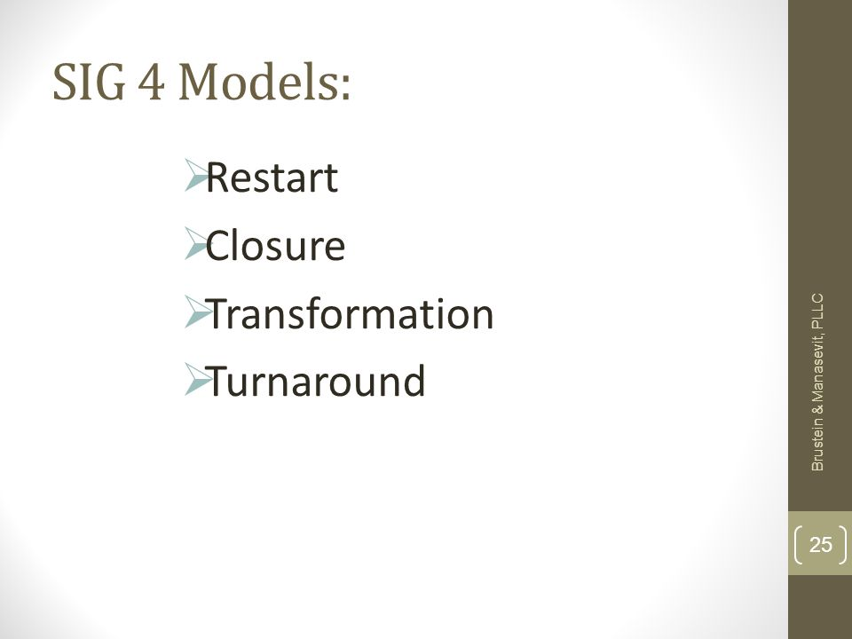 SIG 4 Models: Restart Closure Transformation Turnaround Brustein & Manasevit, PLLC 25