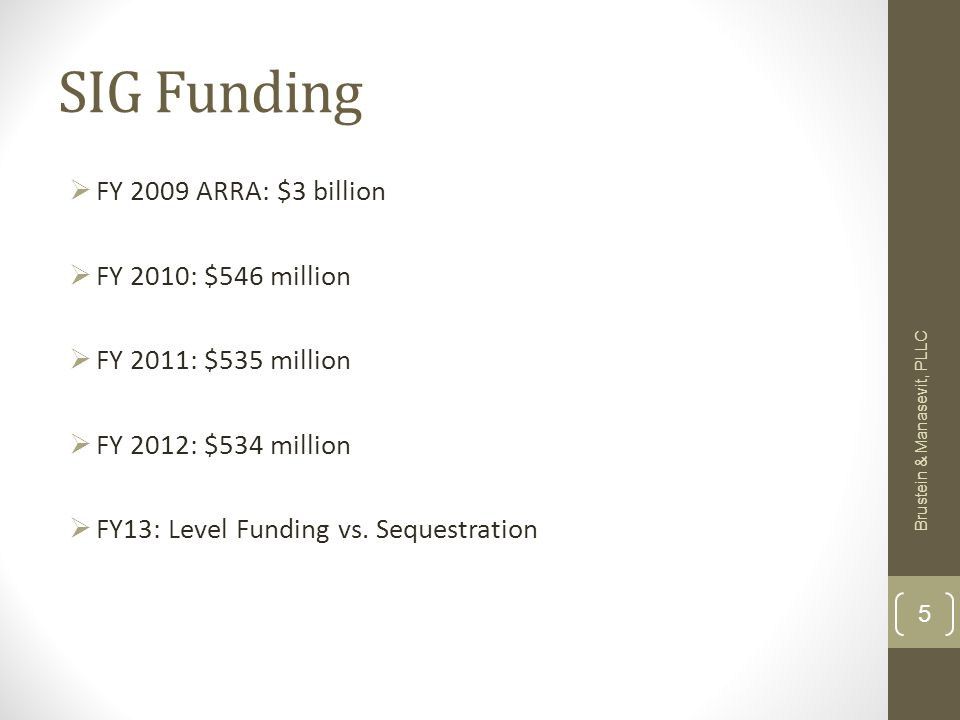 SIG Funding FY 2009 ARRA: $3 billion FY 2010: $546 million FY 2011: $535 million FY 2012: $534 million FY13: Level Funding vs.