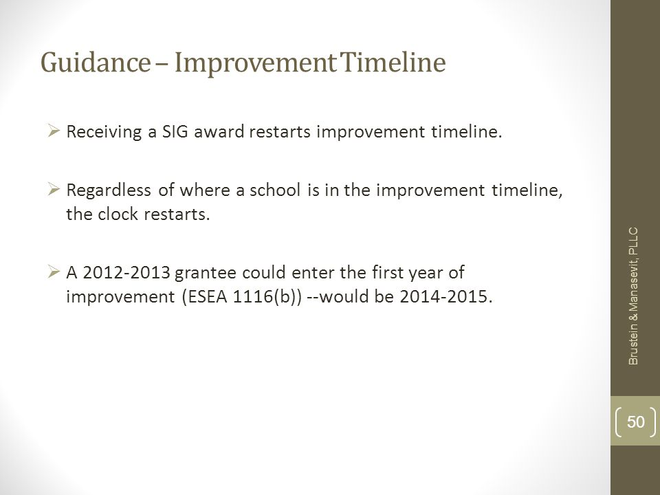 Guidance – Improvement Timeline Receiving a SIG award restarts improvement timeline.
