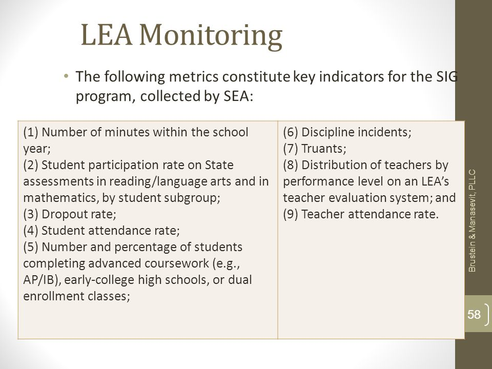 LEA Monitoring The following metrics constitute key indicators for the SIG program, collected by SEA: Brustein & Manasevit, PLLC 58 (1) Number of minutes within the school year; (2) Student participation rate on State assessments in reading/language arts and in mathematics, by student subgroup; (3) Dropout rate; (4) Student attendance rate; (5) Number and percentage of students completing advanced coursework (e.g., AP/IB), early-college high schools, or dual enrollment classes; (6) Discipline incidents; (7) Truants; (8) Distribution of teachers by performance level on an LEAs teacher evaluation system; and (9) Teacher attendance rate.