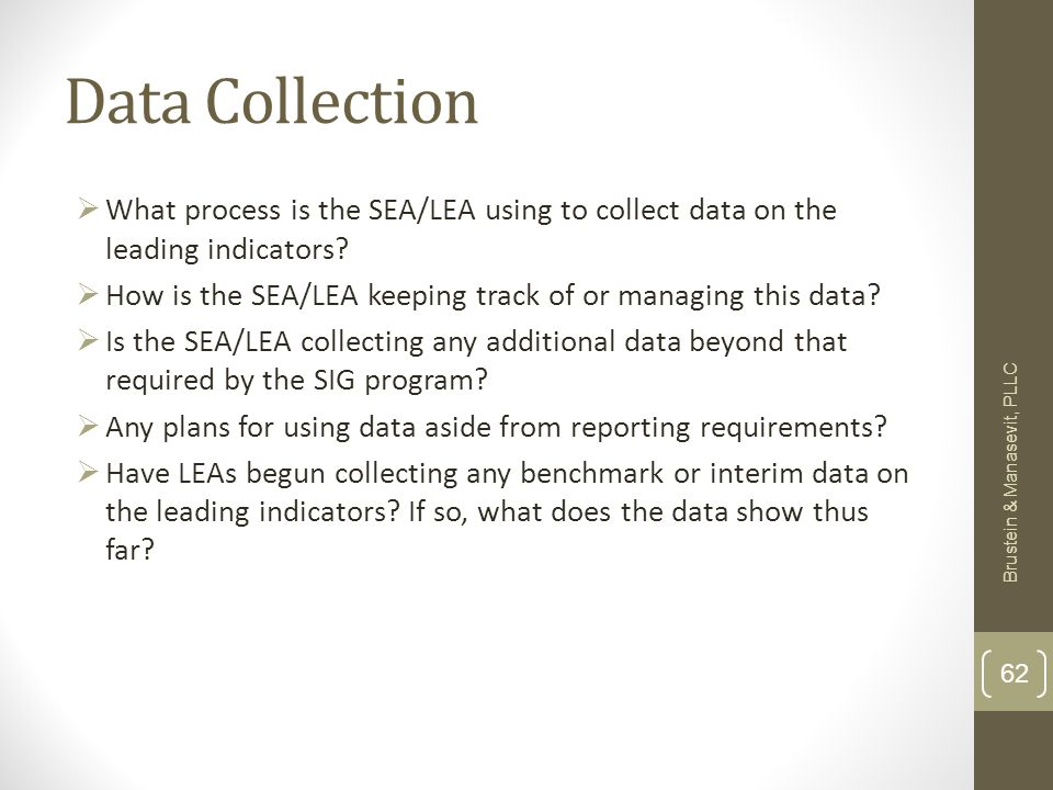 Data Collection What process is the SEA/LEA using to collect data on the leading indicators.