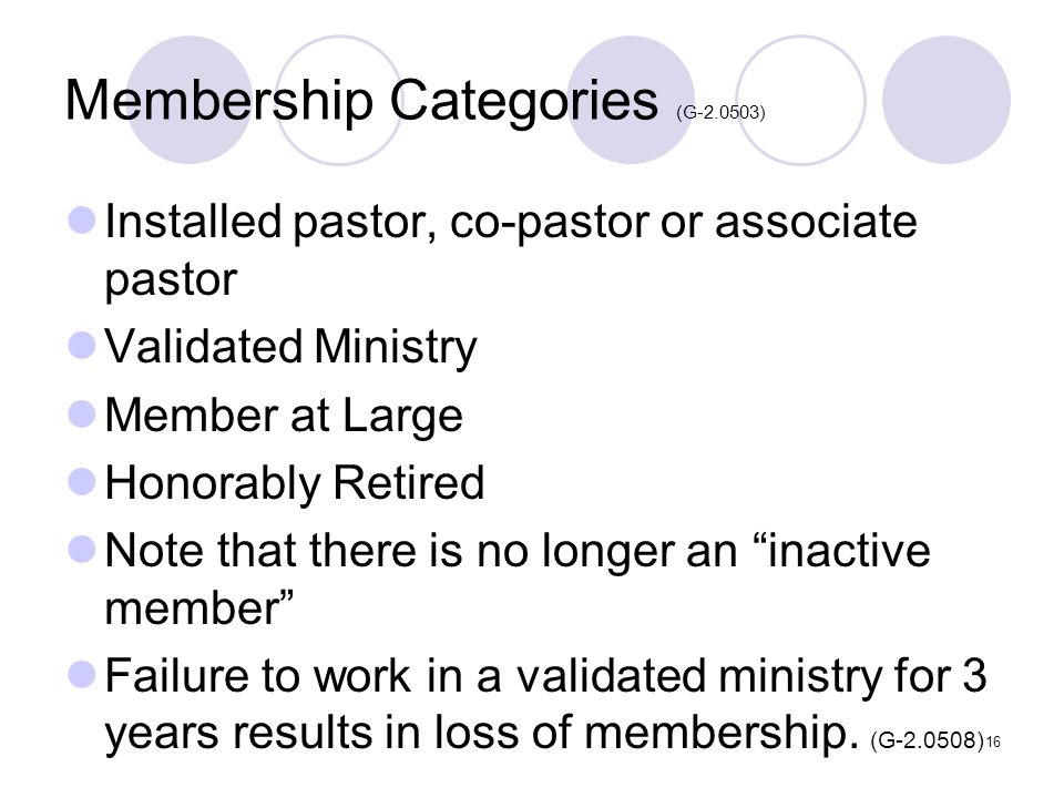 16 Membership Categories (G-2.0503) Installed pastor, co-pastor or associate pastor Validated Ministry Member at Large Honorably Retired Note that the