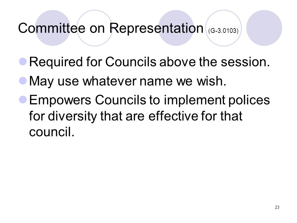 23 Committee on Representation (G-3.0103) Required for Councils above the session.