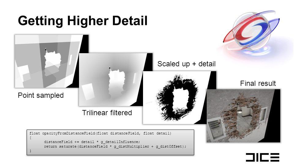 Getting Higher Detail float opacityFromDistanceField(float distanceField, float detail) { distanceField += detail * g_detailInfluence; return saturate