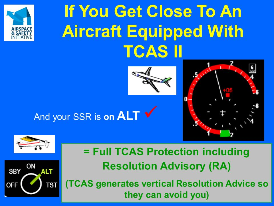 And your SSR is on ALT = Full TCAS Protection including Resolution Advisory (RA) (TCAS generates vertical Resolution Advice so they can avoid you) If You Get Close To An Aircraft Equipped With TCAS II