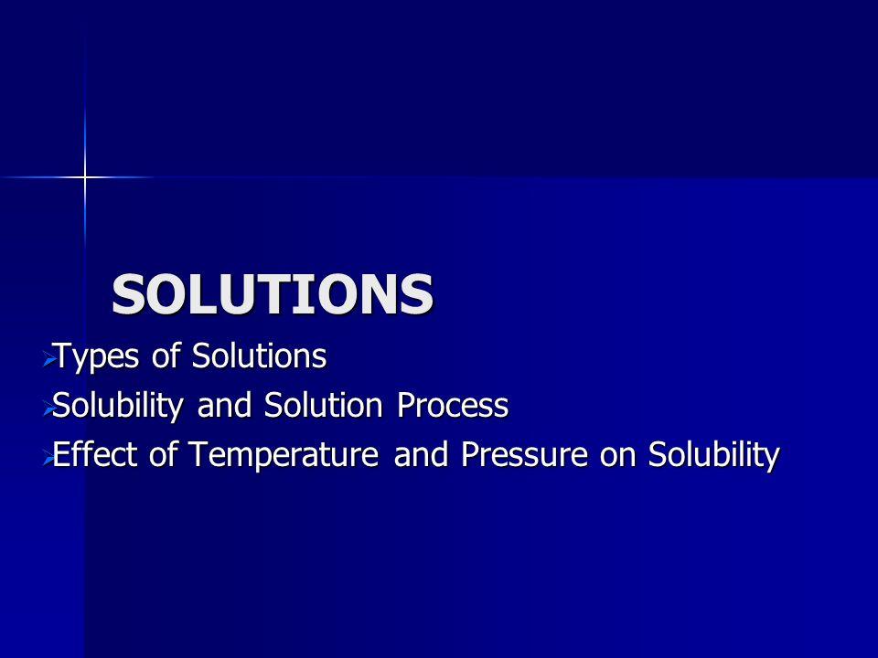 SOLUTIONS Types of Solutions Types of Solutions Solubility and Solution Process Solubility and Solution Process Effect of Temperature and Pressure on