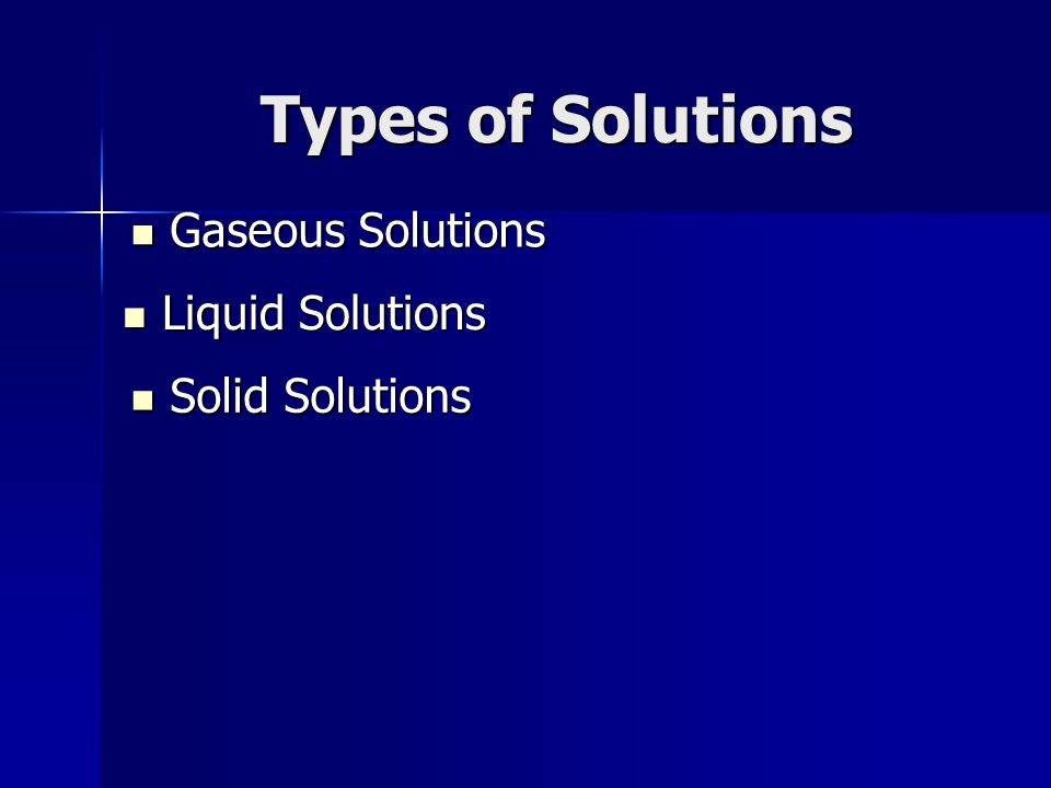 Types of Solutions Gaseous Solutions Gaseous Solutions Liquid Solutions Liquid Solutions Solid Solutions Solid Solutions