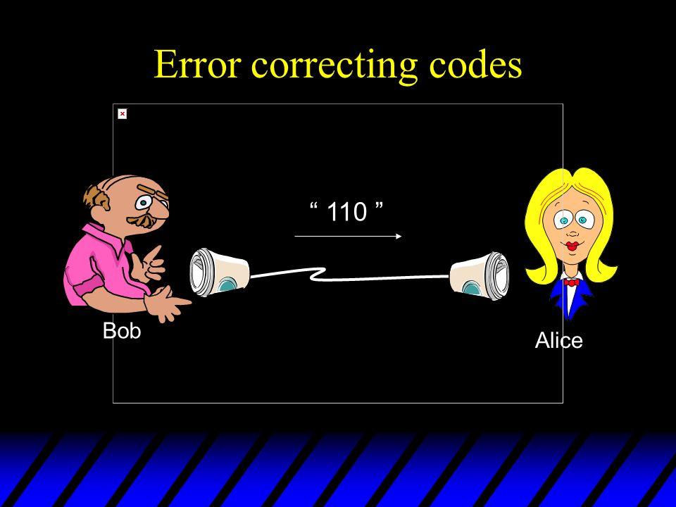 Error correcting codes Alice Bob 110