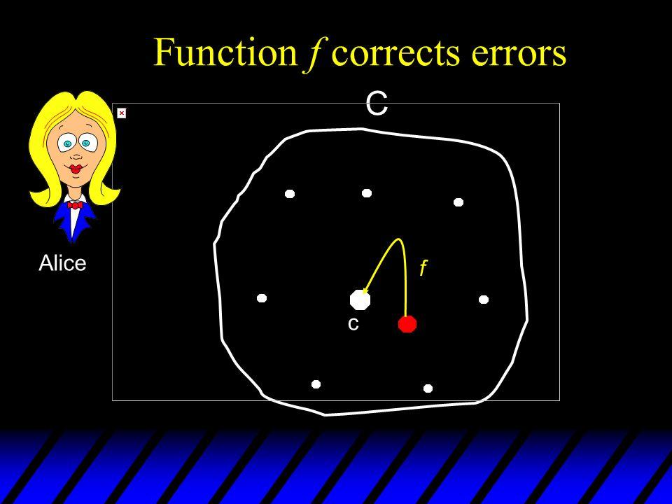 101 111 100 111 111 000 f c C Function f corrects errors Alice f