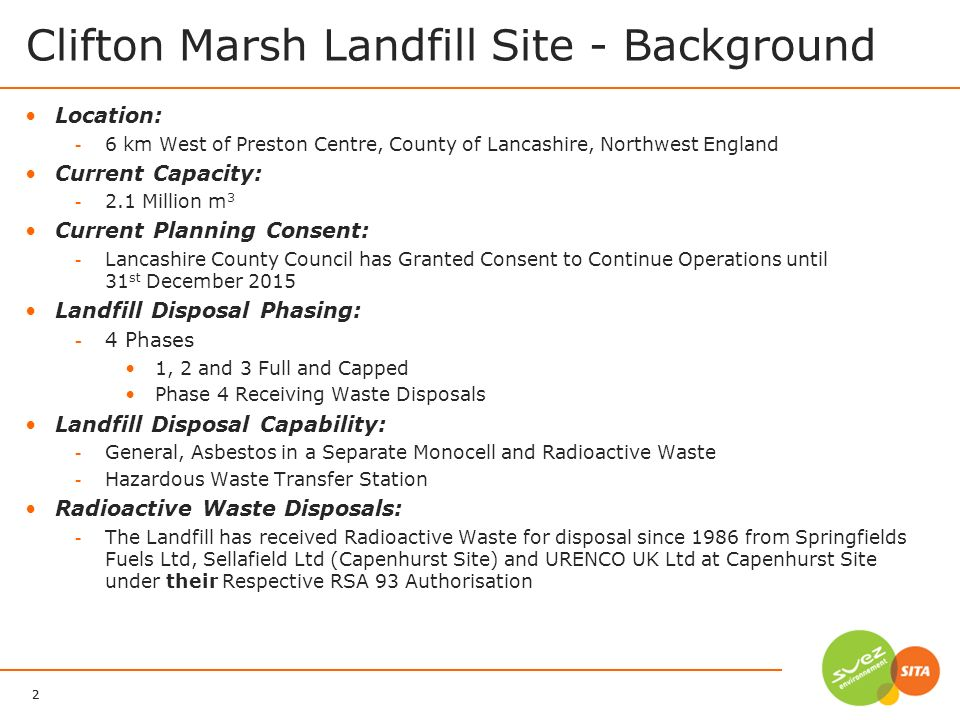 3 SITA UK 17/06/2011 Clifton Marsh Landfill Site Phase 1 Phase 2 Phase 3 Phase 4 Composting Pad United Utilities Water Treatment Works Electricity Generators Leachate Treatment Lagoons River Ribble 1 st Asbestos Monocell 2 nd Asbestos Monocell Site Office Hazardous Waste Transfer Station More Than Just a Waste Disposal Site!!!