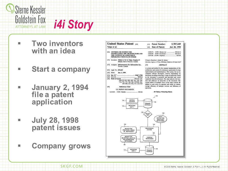 © 2009 Sterne, Kessler, Goldstein, & Fox P.L.L.C. All Rights Reserved. i4i Story Two inventors with an idea Start a company January 2, 1994 file a pat