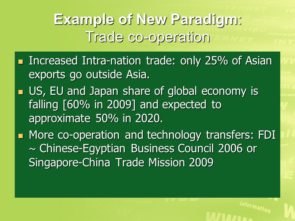 Example of New Paradigm: Trade co-operation Increased Intra-nation trade: only 25% of Asian exports go outside Asia.