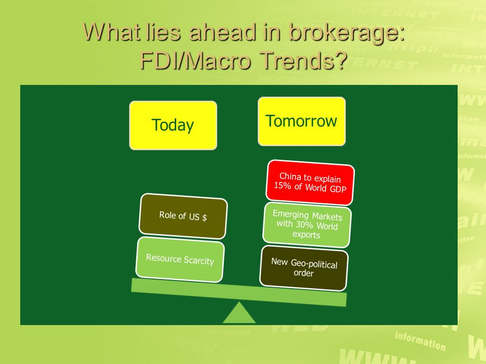 What lies ahead in brokerage: FDI/Macro Trends.