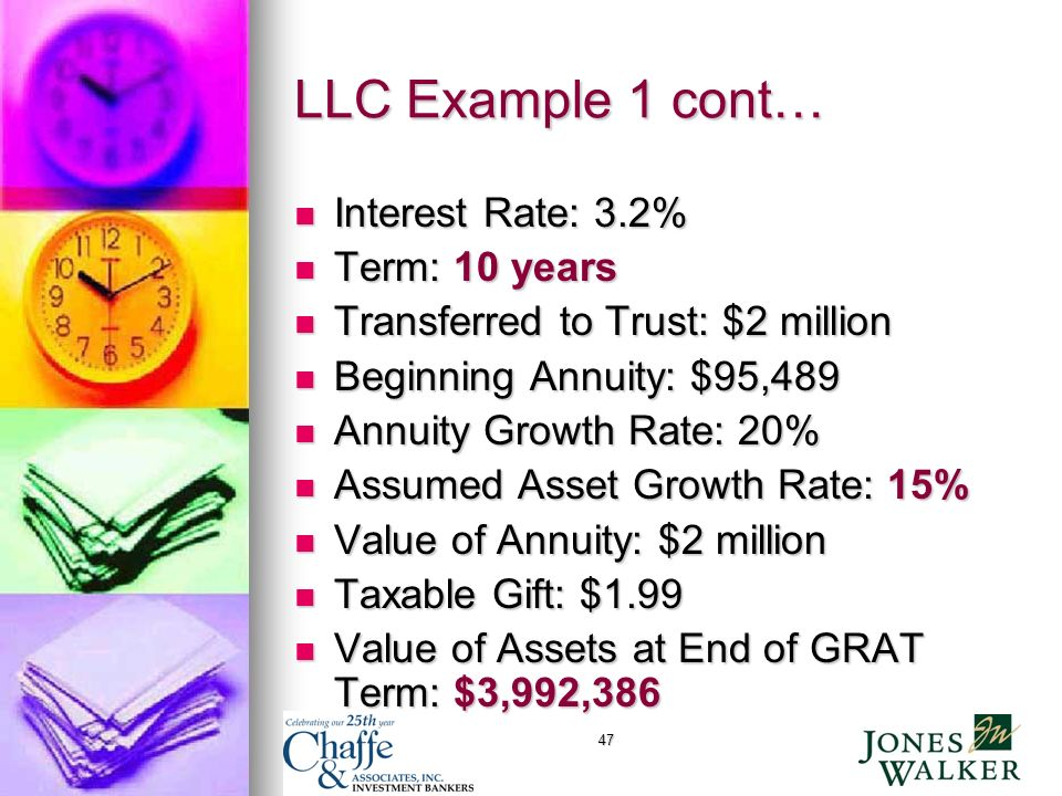 47 LLC Example 1 cont… Interest Rate: 3.2% Interest Rate: 3.2% Term: 10 years Term: 10 years Transferred to Trust: $2 million Transferred to Trust: $2 million Beginning Annuity: $95,489 Beginning Annuity: $95,489 Annuity Growth Rate: 20% Annuity Growth Rate: 20% Assumed Asset Growth Rate: 15% Assumed Asset Growth Rate: 15% Value of Annuity: $2 million Value of Annuity: $2 million Taxable Gift: $1.99 Taxable Gift: $1.99 Value of Assets at End of GRAT Term: $3,992,386 Value of Assets at End of GRAT Term: $3,992,386