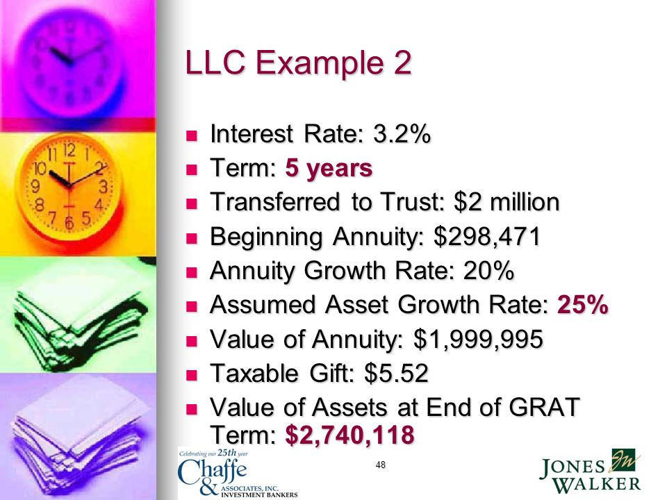 48 LLC Example 2 Interest Rate: 3.2% Interest Rate: 3.2% Term: 5 years Term: 5 years Transferred to Trust: $2 million Transferred to Trust: $2 million Beginning Annuity: $298,471 Beginning Annuity: $298,471 Annuity Growth Rate: 20% Annuity Growth Rate: 20% Assumed Asset Growth Rate: 25% Assumed Asset Growth Rate: 25% Value of Annuity: $1,999,995 Value of Annuity: $1,999,995 Taxable Gift: $5.52 Taxable Gift: $5.52 Value of Assets at End of GRAT Term: $2,740,118 Value of Assets at End of GRAT Term: $2,740,118