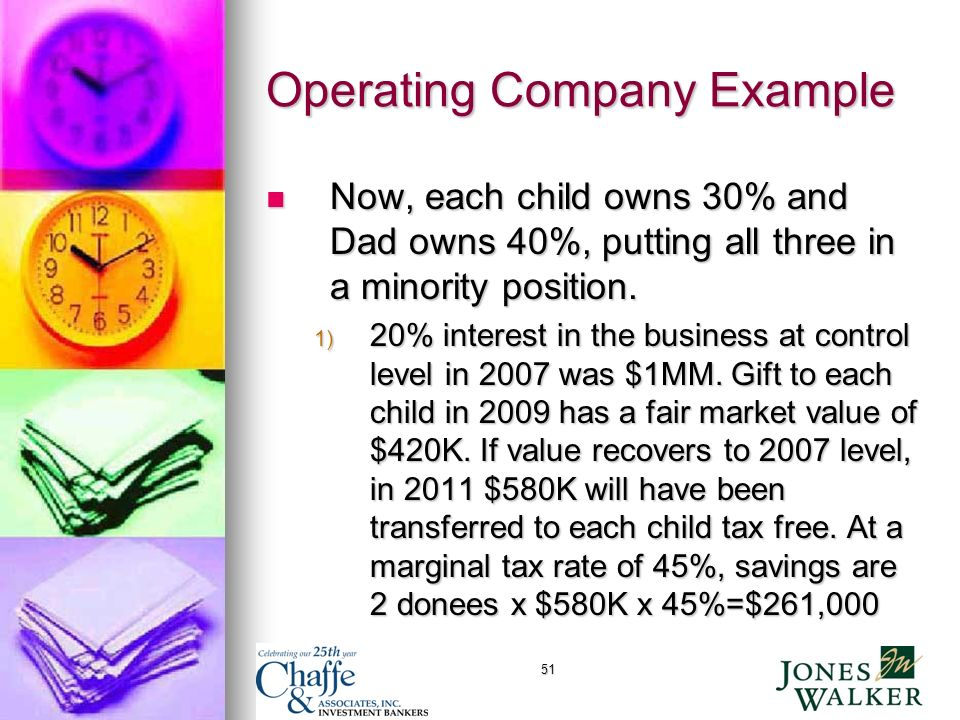 51 Operating Company Example Now, each child owns 30% and Dad owns 40%, putting all three in a minority position.