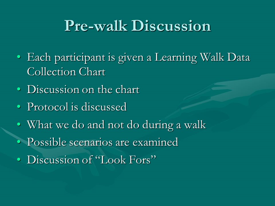 Pre-walk Discussion Each participant is given a Learning Walk Data Collection ChartEach participant is given a Learning Walk Data Collection Chart Dis
