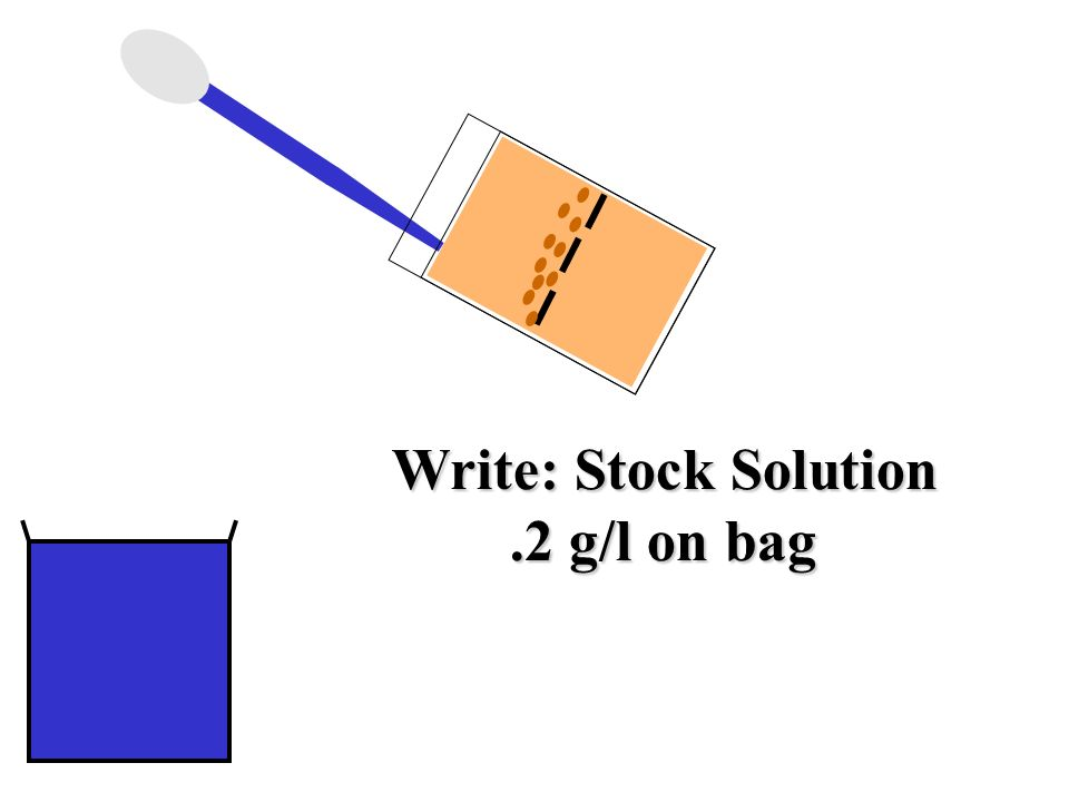 Write: Stock Solution.2 g/l on bag