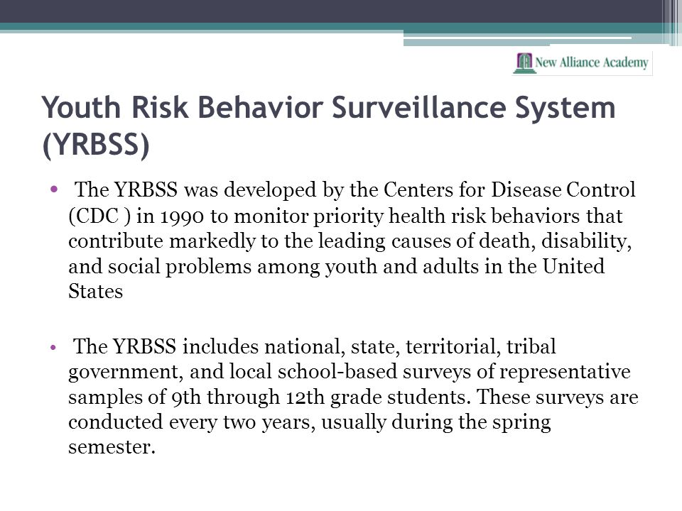 Youth Risk Behavior Surveillance System (YRBSS) The YRBSS was developed by the Centers for Disease Control (CDC ) in 1990 to monitor priority health r