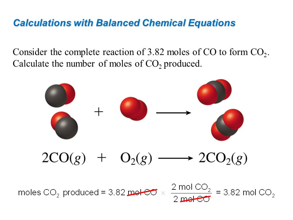 Calculations with Balanced Chemical Equations Consider the complete reaction of 3.82 moles of CO to form CO 2. Calculate the number of moles of CO 2 p
