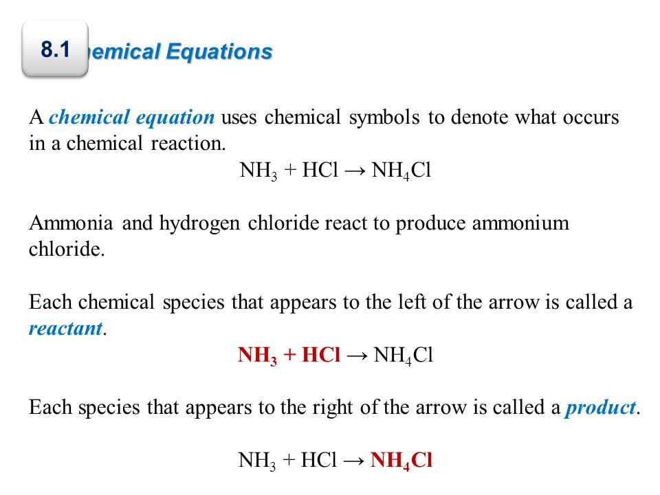 Chemical Equations A chemical equation uses chemical symbols to denote what occurs in a chemical reaction. NH 3 + HCl NH 4 Cl Ammonia and hydrogen chl