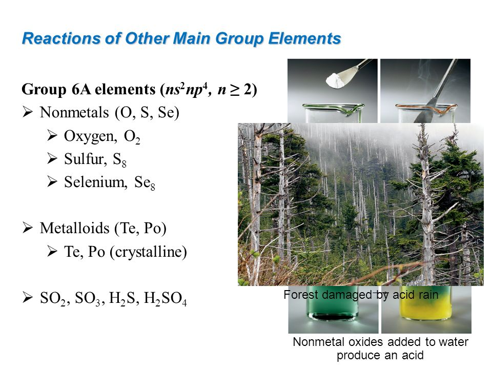 Reactions of Other Main Group Elements Group 6A elements (ns 2 np 4, n 2) Nonmetals (O, S, Se) Oxygen, O 2 Sulfur, S 8 Selenium, Se 8 Metalloids (Te,