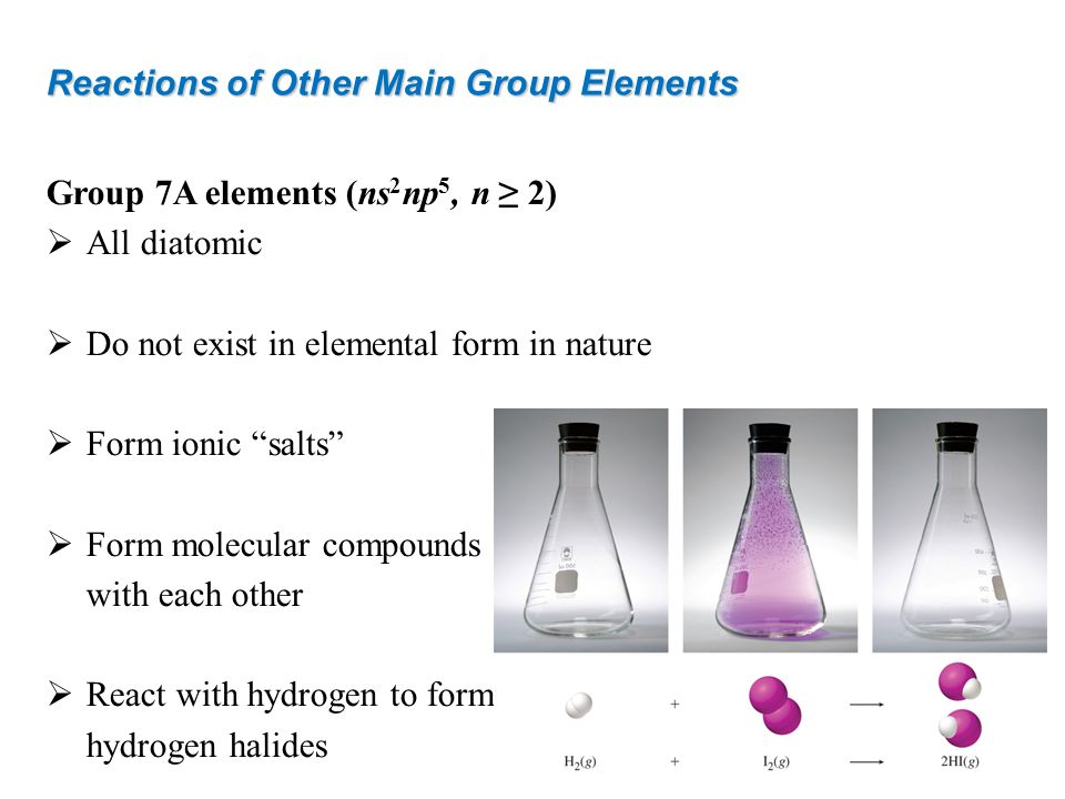 Reactions of Other Main Group Elements Group 7A elements (ns 2 np 5, n 2) All diatomic Do not exist in elemental form in nature Form ionic salts Form