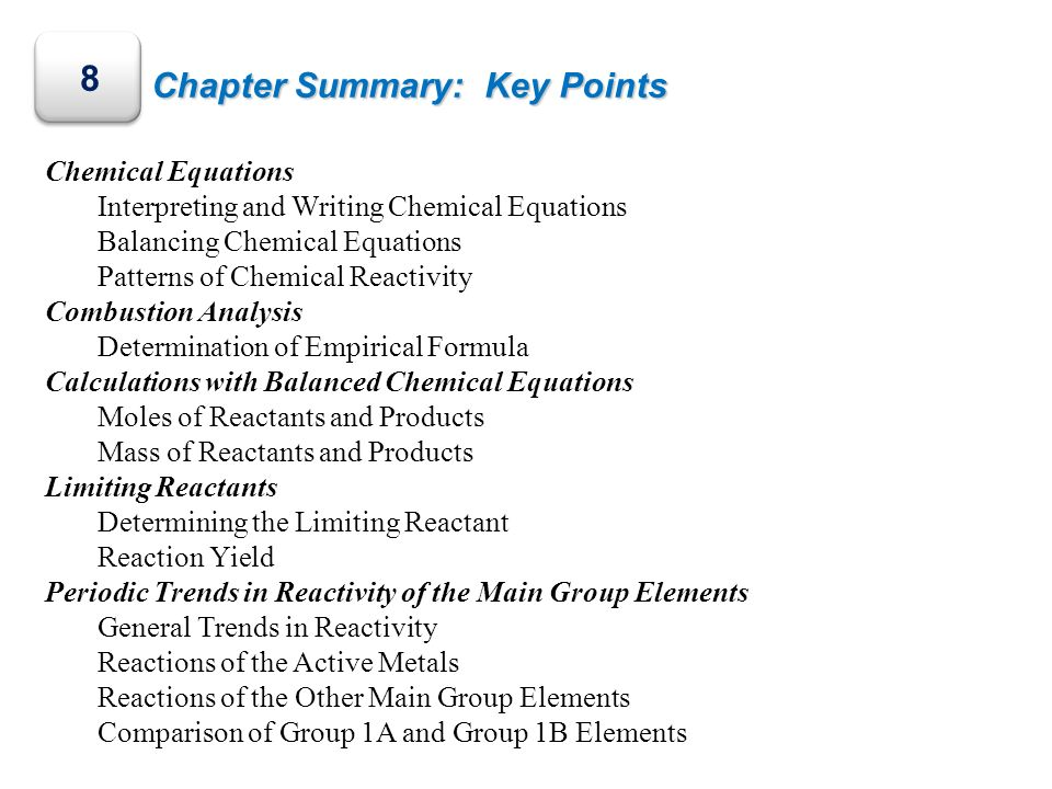 Chapter Summary: Key Points 8 Chemical Equations Interpreting and Writing Chemical Equations Balancing Chemical Equations Patterns of Chemical Reactiv
