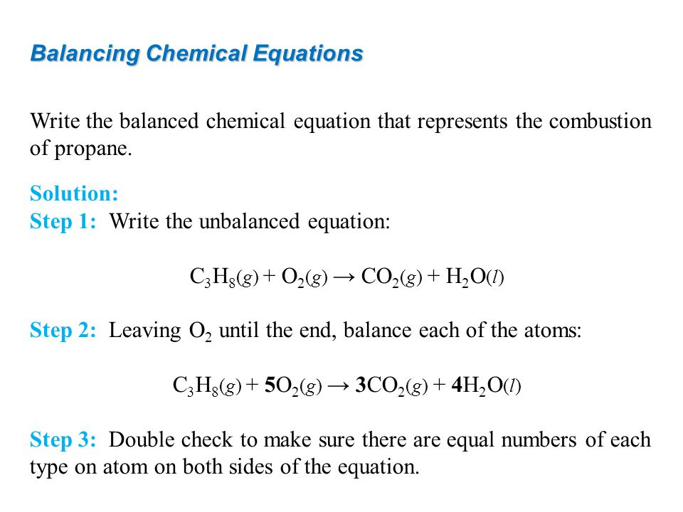 Balancing Chemical Equations Write the balanced chemical equation that represents the combustion of propane. Solution: Step 1: Write the unbalanced eq