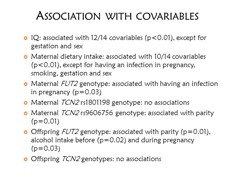 A SSOCIATION WITH COVARIABLES IQ: associated with 12/14 covariables (p<0.01), except for gestation and sex Maternal dietary intake: associated with 10