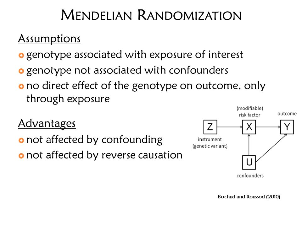 M ENDELIAN R ANDOMIZATION Assumptions genotype associated with exposure of interest genotype not associated with confounders no direct effect of the g