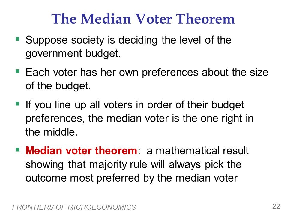 FRONTIERS OF MICROECONOMICS 21 Arrows Impossibility Theorem Arrow proved that no voting system can satisfy all four properties. Arrows impossibility t