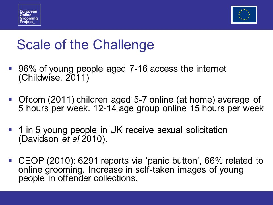 Scale of the Challenge 96% of young people aged 7-16 access the internet (Childwise, 2011) Ofcom (2011) children aged 5-7 online (at home) average of 5 hours per week.